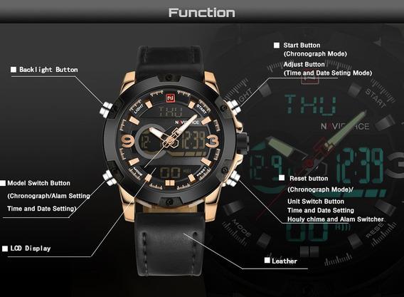 Relógio Naviforce 9097 Importado Pulseira Social