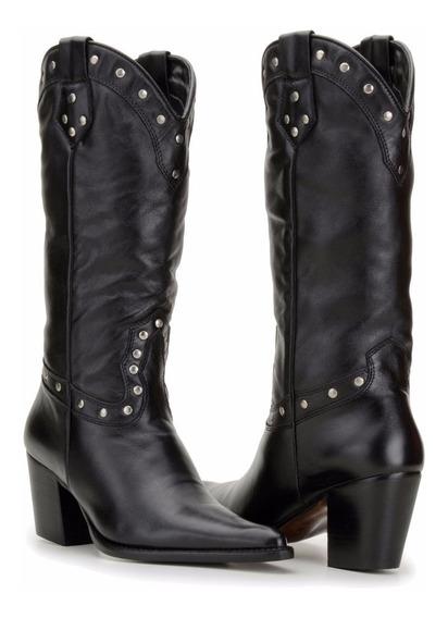 Bota Feminina Country Texana Couro Alta Capelli Boots 4cores