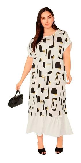 Vestido Shein Largo Geo Print Plus Size 2x