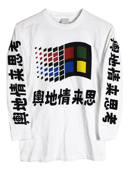 Playera Manga Lrga Windows 98 Retro Japan Vaporwave C/ Envio