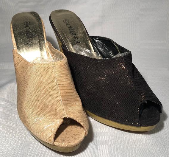 Zuecos/zapatos De Madera Y Tela Taco Alto