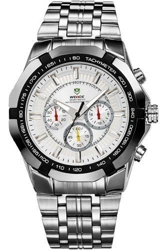 Relógio M3100 Weide Masculino Luxo Prata Aço Inox Homens