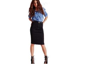 Pollera Falda Jean Negra Nevada Elastizadas Talles 40 Al 60