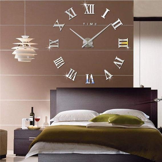 Reloj Gigante De Pared Decorativo 3d Número Romano, Plateado