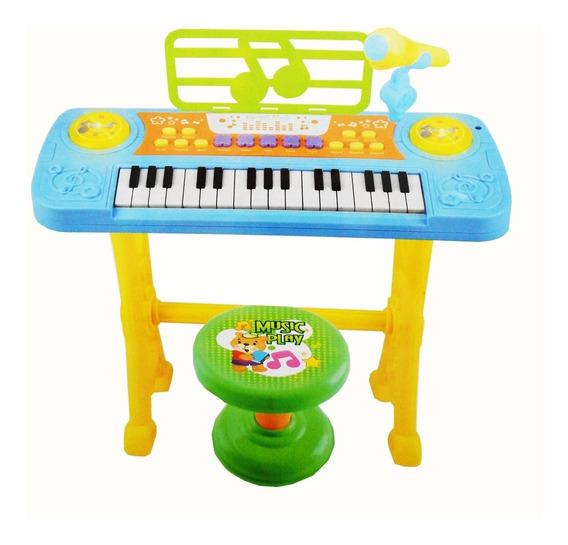 Piano Teclado Infantil Microfone Gravador Banquinho Azul