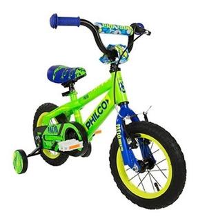 Bicicleta De Niño Rodado 12 Philco Color Verde Tio Musa