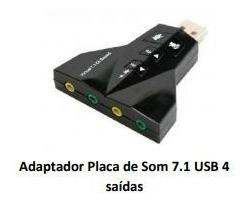 Adaptador Placa De Som Usb 4 Saidas