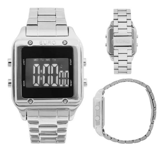 Relógio Feminino Digital Quadrado Prateado Sabrina Eug2510ab