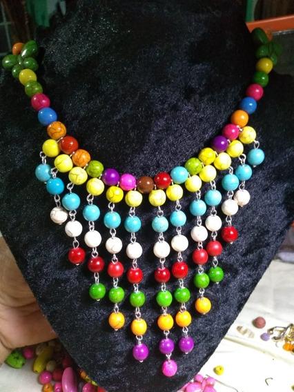 Collar Piedra Natural Colorido Moderno