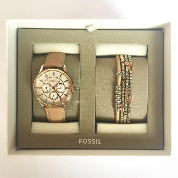 Relógio Feminino Fossil Bq3417set + Pulseira Original Usa