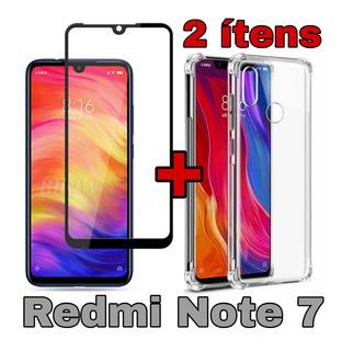 Pelicula Full Cover 9d + Capa Anti Impacto Redmi Note 7