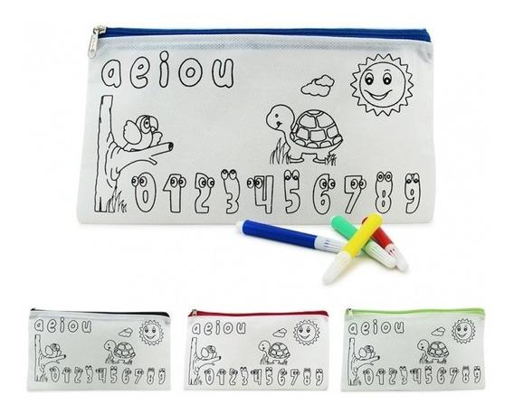 Cartuchera Para Colorear Incluye Marcadores Niños Niñas