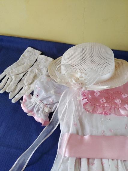 Vestido Nena Años 90 De Fiesta Con Acces. Capelina Y Guantes