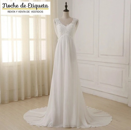 Imagen 1 de 4 de Vestido De Novia Corte Recto Escote V Espalda Destapada