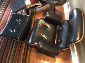 Cadeira Charles Eames Couro Preto Legitimo C/banqueta