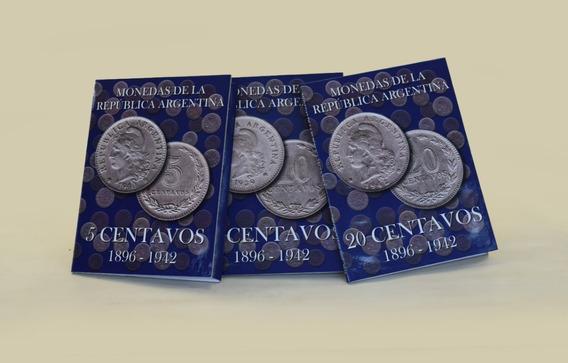 3 Albumes Para Monedas Argentinas Niqueles Cents +50 Monedas