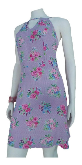 Vestido Curto Feminino Soltinho Viscose Estampado Flor