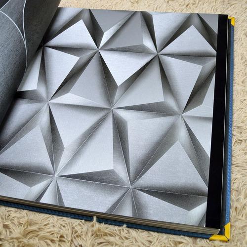 Imagem 1 de 7 de Papel De Parede Textura Alto Relevo Geométrico Cinza 3d