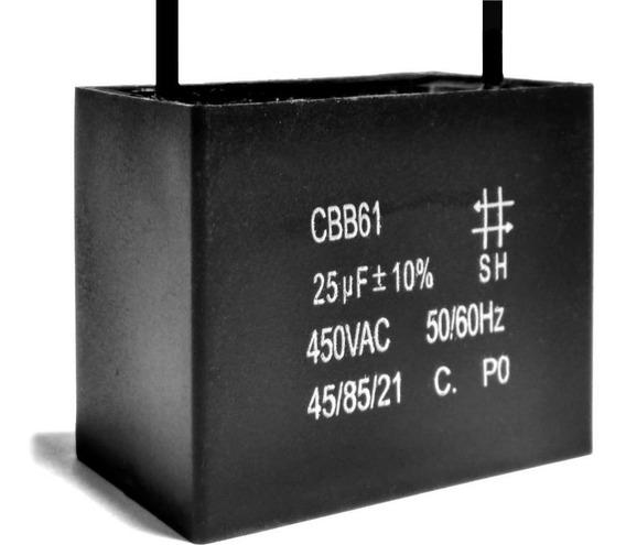 2 Unidades Capacitor De Partida 25uf X 450vac Fio Cbb61