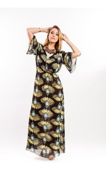Vestido Meia Manga Longo Estampa Exclusiva Maria Valentina
