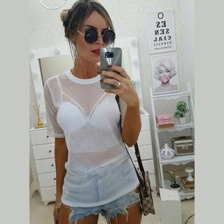 Blusa Camisa Tule Transparente + Top Cropped Brinde91