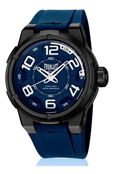Relógio Pulso Everlast Masculino Esporte Silicone Azul E692