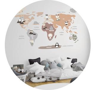 Vinilo Decorativo Infantil Mapa Animalitos Planisferio