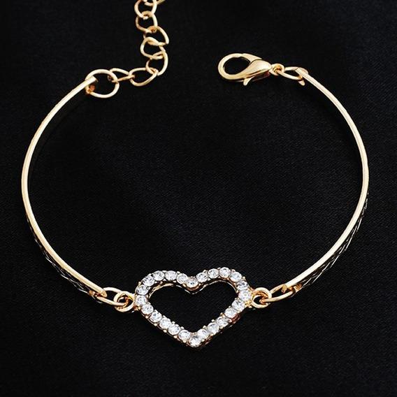 Pulseira Feminina Folheada Ouro Dourada Coração Cristal 264
