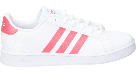 Tenis adidas Grand Court Blanco/rosa Glitter Eg5136