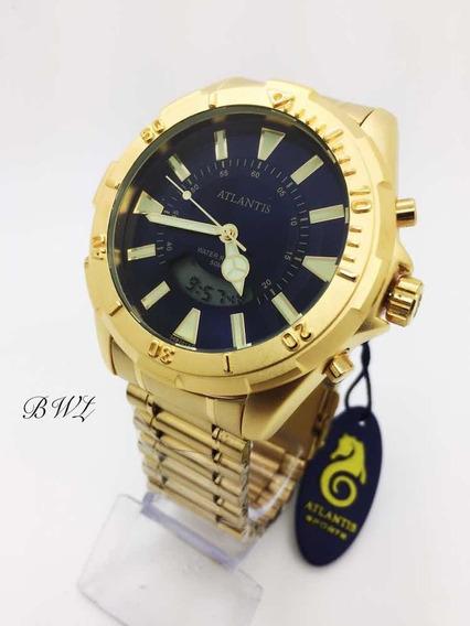 Relógio Atlantis A3482 Dourado Preto Analógico Digital