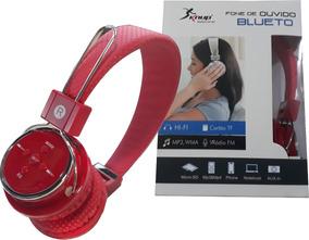 Bluetooth Headphone Original Celular Fm Sd P2 Kp 367 Vermelh