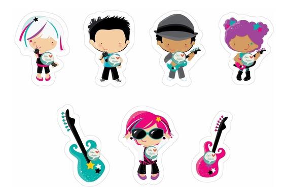 100 Tags Toppers Festa Rock Banda Aniversário Música 3,5cm