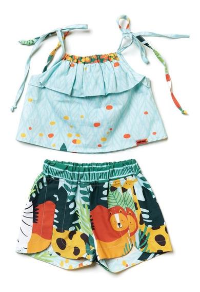 Conjunto Shorts E Blusinha Menina - Safari Camu Camu
