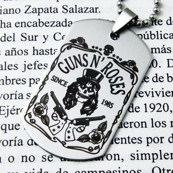 Placa Militar Dije Cadena Llavero Guns And Roses Slash