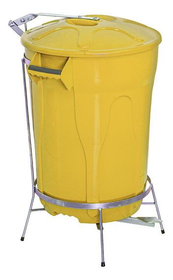 Lixeira Pedal De Aço Amarela 100 Litros