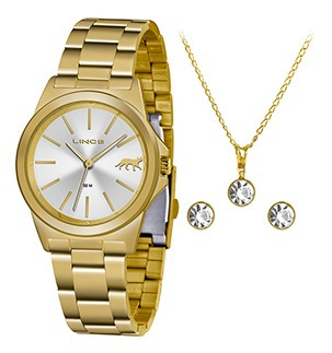 Kit Relógio Fem Lince Puls Aço 50m Ref. Lrgh125l-kx23s1kx