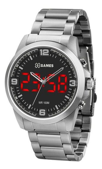Relógio X Games Masculino Ref: Xmssa009 P2sx Led Prateado
