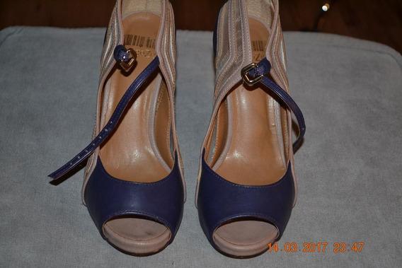 Peep Toe, Cor Azul Indigo, Nº35, Marca Código Zen