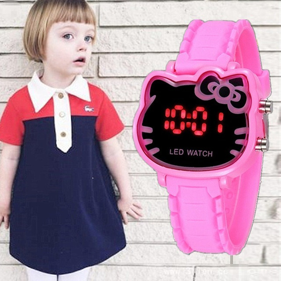 Relógio De Pulso Feminino Infantil Led Digital Hello Kitty