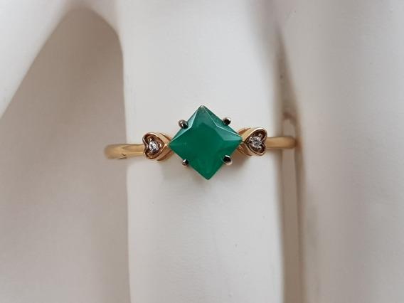 Anel De Formatura Ouro 18k Pedra Verde Corações Nas Pontas