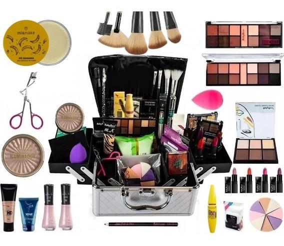 Maleta Grande Maquiagem Profissional Completa + Brinde