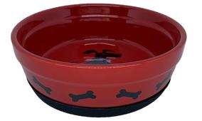 Comedouro De Porcelana Vermelho E Preto - Multi-tec