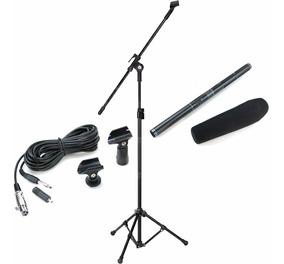 Microfone Direcional Shotgun Boom Csr Ht81 + Pedestal