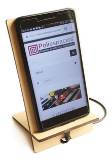 Dock Base Madera Mdf Celular iPhone Corte Laser Escritorio