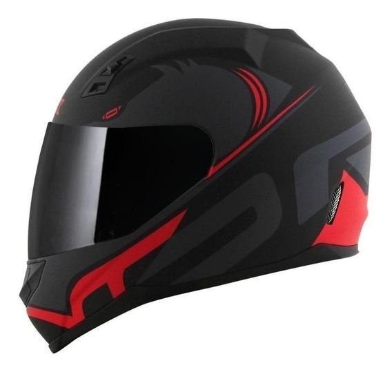 Capacete para moto integral Norisk FF391 Squalo matt black, red tamanho 58