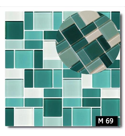 Venecita Modelo Combinado En Vidrio Tonos Verdes Y Azules