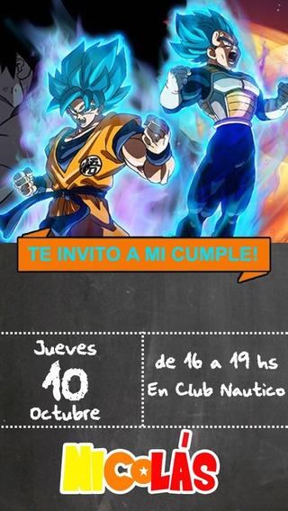 Dragon Ball Invitación Tarjeta Digital Imprimible Whatsapp