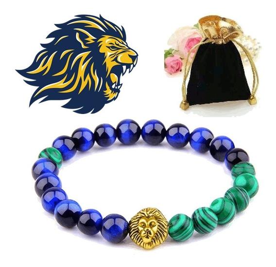 Pulseira Pedra Natural Malaquita Olho De Tigre Leão Dourado