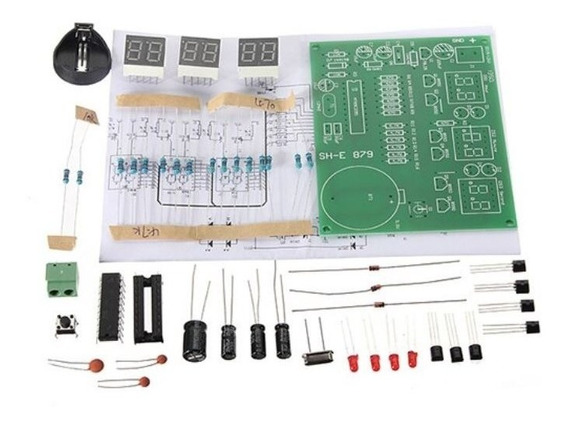 Kit Relógio Digital P/ Montar 6 Digitos 9-12 V - At89c2051