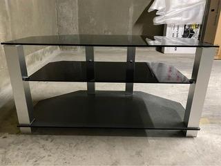 Mesa De Tv Lcd De Vidrio Y Aluminio